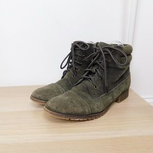 Steve Madden Green Lace Up Leather Ankle Boots
